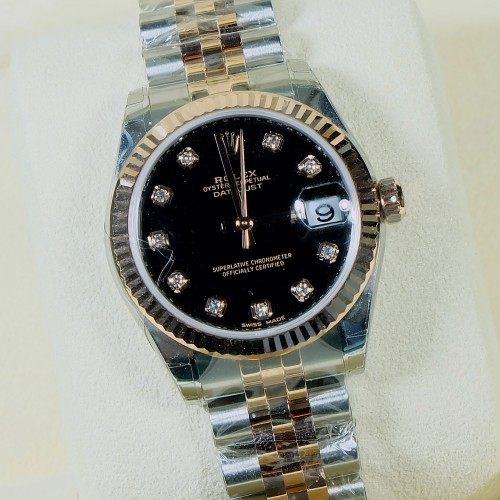DATEJUST TWO TONE ROSE GOLD BOYSIZE BLACK PLATE DIAMONDS