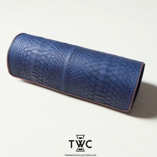Four-Slot Python Watch Case (Navy Blue)
