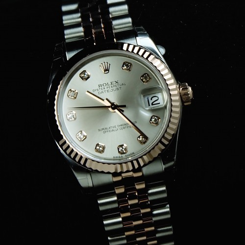 DATEJUST SILVER DIAMOND TWO TONE ROSE GOLD BOYSIZE