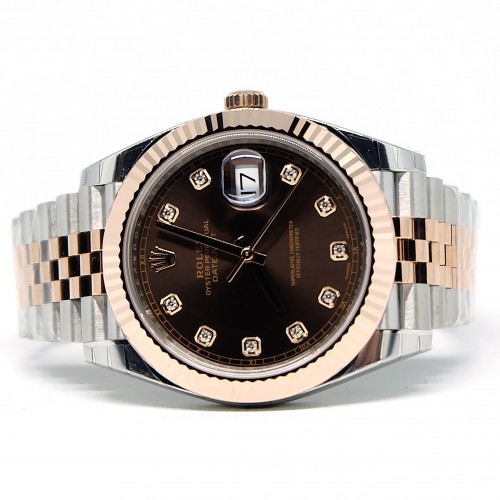 DATEJUST 41 TWOTONE ROSE GOLD CHOCOLATE DIAL